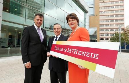 [L-R] Alastair Hamilton, Chief Executive, Invest NI; Eduardo Leite, Chairman, Baker & McKenzie and NI's First Minister, Arlene Foster.