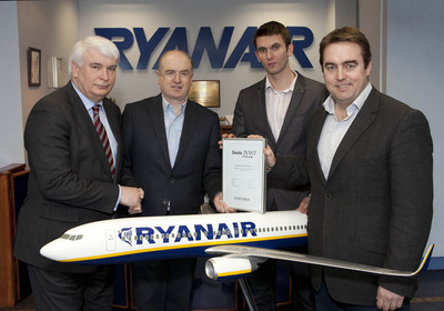 (L-R) Ken O'Brien, editor, Finance Dublin; Howard Millar, Deputy CEO and CFO, Ryanair; John O'Flynn, Treasury Manager, Ryanair; and Jimmy Dempsey, Treasurer, Ryanair.