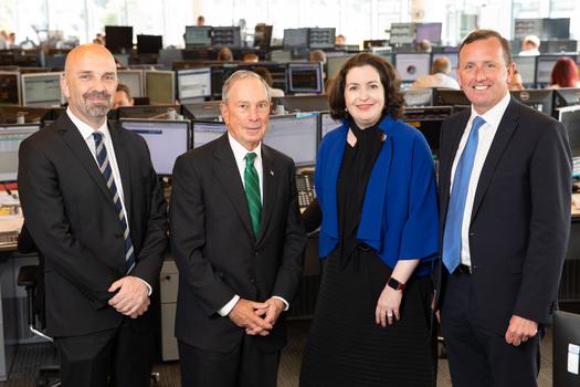 [L-R] Sean Crowe, CEO Markets and Treasury, Bank of Ireland; Michael R. Bloomberg; Francesca McDonagh, CEO, Bank of Ireland Group and Kevin Twomey, CEO, Bank of Ireland Global Markets.