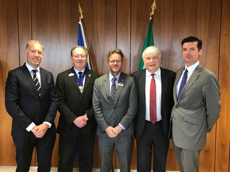 [L-R] Alan Hughes, director, global healthcare, KPMG, Alderman Michael Mainelli, City of London; Patrick Young, publisher, <i>Exchange Invest</i>; Ken O'Brien, publisher, <i>Finance Dublin</i> and Justin Sullivan, project executive, IDA Ireland.