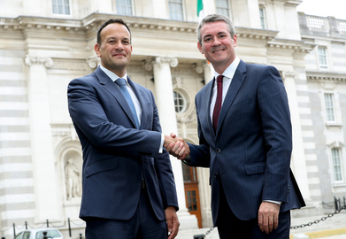 [L-R] The Taoiseach Leo Varadkar and Frank O'Keeffe, EY'S new managing partner, announcing EY's ambitious employment expansion plan.