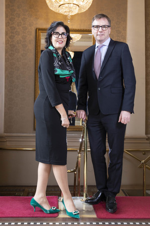 FIBI Annual Lunch: [L-R] Tina Fordham, Managing Director and Chief Global Political Analyst, Citi and Colin Moreland, chair at FIBI. Fordham spoke about the implications for investment markets and economic growth of key geopolitical and socioeconomic factors that are currently at play - including political risks, global trade tensions US Mid-Term Elections and Brexit.