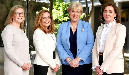 Last July, Intertrust announced the expansion of its activities to include aircraft ABS administration,and the creation of 60 new jobs. At the announcement were (from left): Fiona McCabe, International FS Project Manager, IDA Ireland; Anne Flood, Head of Capital Markets, Intertrust Ireland; Heather Humphreys, Minister for Business, Enterprise & Innovation; and Imelda Shine, MD, Intertrust Ireland.