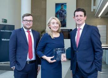 L to R: Ollie Conneely; Manager, Bank of Ireland Corporate Banking, Regina Walsh; Associate Director, Bank of Ireland Corporate Banking, Maurice Healy; Director, Bank of Ireland Corporate Banking