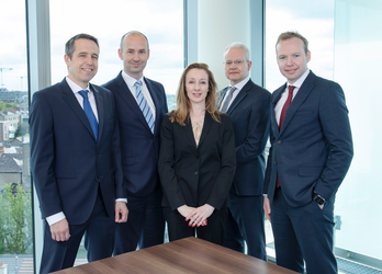 [L-R]: Keith Jordan, Head of Structured Products; Owen Neary, Head of Global Markets Direct, & Origination; Kerrianne Waldron, Product Development Manager; Mark Caffrey, Head of Investment Development; Martin Kindregan, Head of Institutional Sales of Bank of Ireland.