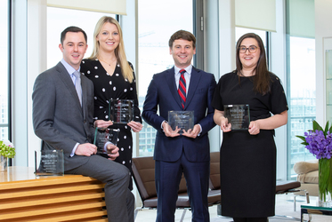 Matheson's Stuart Kennedy, Michelle Daly, Kevin Smith, Yvonne McWeeney pictured with a number of the firm's awards in the aviation finance category.
