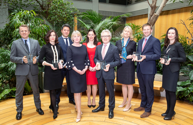 [L-R]: Mark Ward, Head of M&A; Maireadh Dale, Partner, Finance; Matt Cole, Partner, Corporate and M&A; Catherine Duffy, Partner, Head of Aviation Finance; Marie O'Brien, Partner, Aviation Finance; Gearoid Stanley, Partner, Finance; Niamh O'Sullivan, Head of Commercial Property; Charlie Carroll, Partner, Corporate and M&A; Amelia O'Beirne, Partner, Tax of A&L Goodbody.