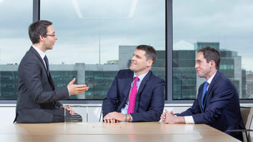 Legal advisers on the Airborne platform: Walkers' aviation finance lead partner, Ken Rush (L) with (L-R) colleagues Brendan O'Brien and Eoin Ryan