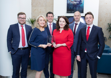 [L-R]: Ollie Connolly, Manager; Regina Walsh, Associate Director; Maurice Healy, Director of Bank of Ireland Corporate Banking, Siobhan Taaffe, Finance Director; Tom Mc Keon, Senior Financial Planning Manager of Uniphar; Jamie McConnell, Director of Capnua Corporate Finance.