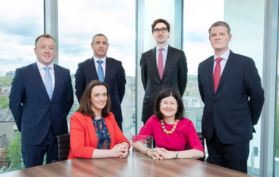 [L-R]: Paul Costello, Associate Director, Property Finance; Dermot Curley, Senior Manager, Property Finance; Tom Edwards-Moss, CFO Hibernia REIT plc; Pat McSweeney, Director, Property Finance; Seated: Sarah McMenamin, Manager, Agency & Transaction Support; Sheila Quinn, Head of Agency & Transaction Support, Bank of Ireland Corporate Banking.
